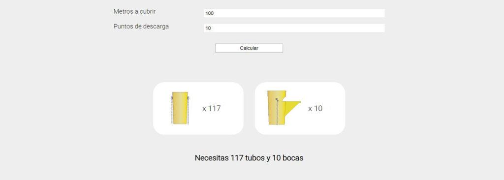Ejemplo de un calculo en la calculadora de tubos de escombros de la aplicación de ITM Construcción.
